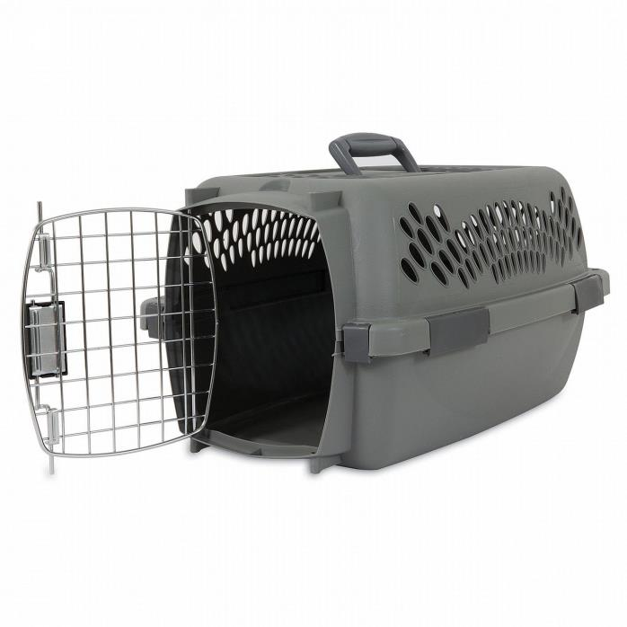 Petmate Plastic Pet Dog Cat Porter Crate Kennel 24 inch Taxi 15-20lbs, Grey