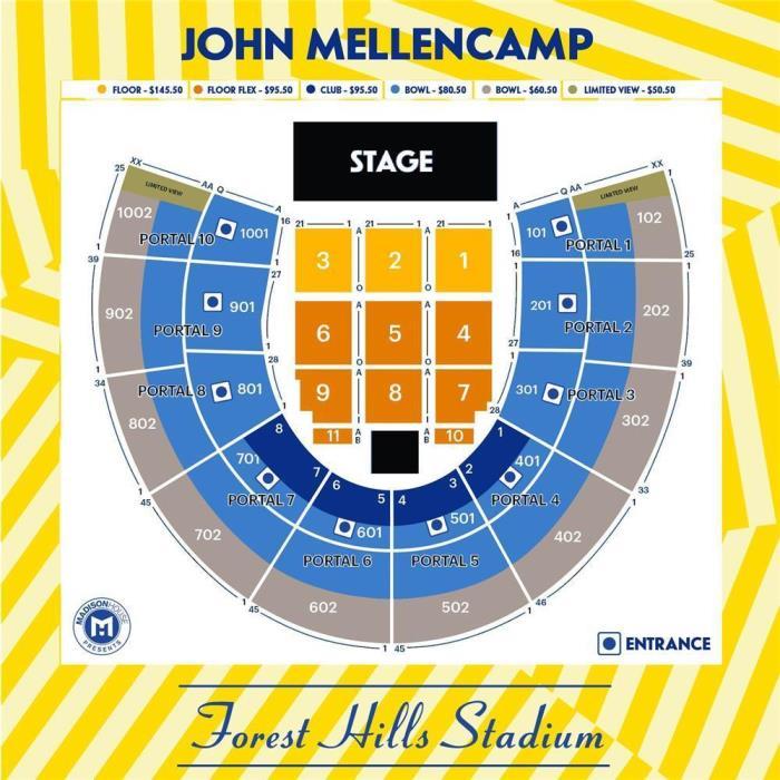 2 JOHN MELLENCAMP TICKETS 7/11/17 FRONT FLOOR 1 ROW F FOREST HILLS NY TIX