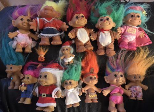 Lot Of 14 Vintage Troll Dolls RUSS ACE TT Bright Of America+