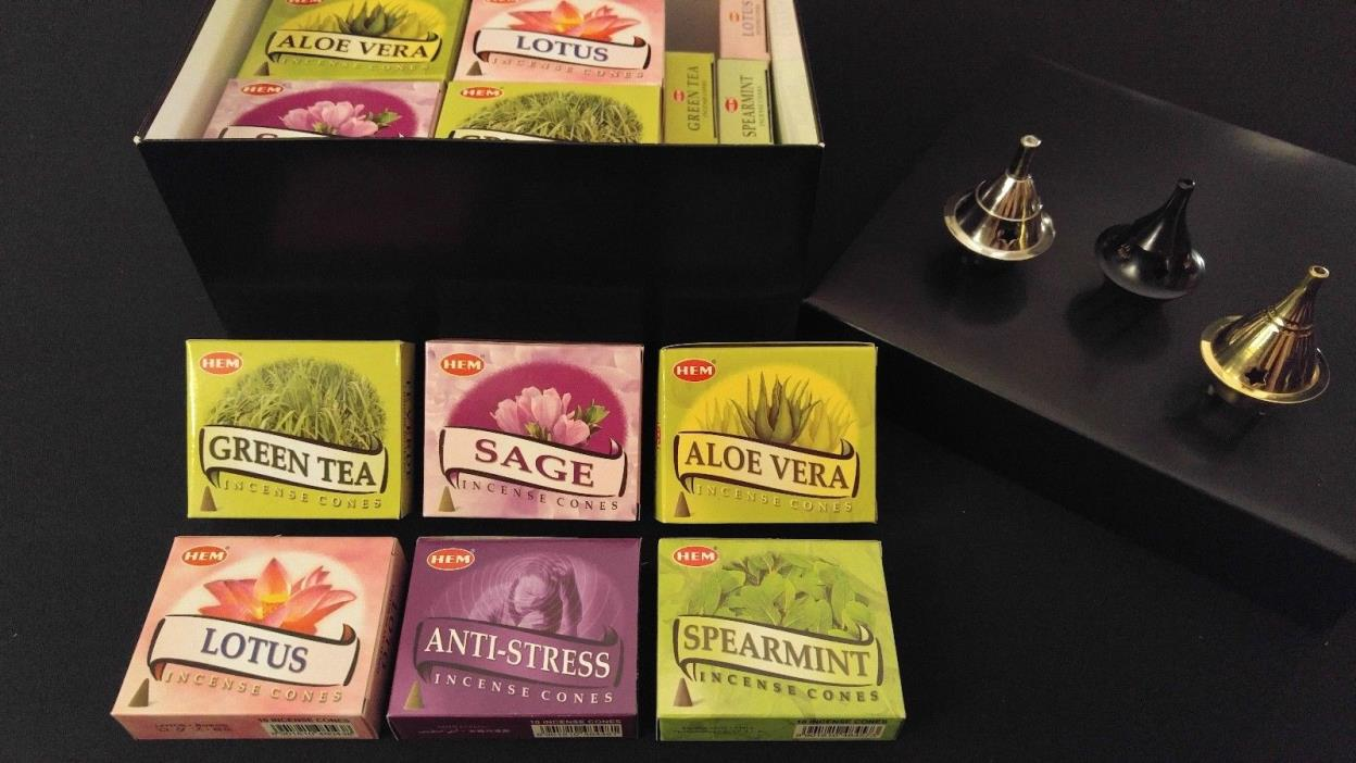 SOOTHE RELAX Incense Cones Set: 6 Scents x 7 Boxes Of 10 = 420 Cones + 3 Burners