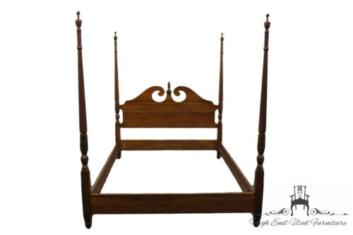 HARDEN Solid Mahogany Rice Carved Queen Size 4 Poster Plantation Bed