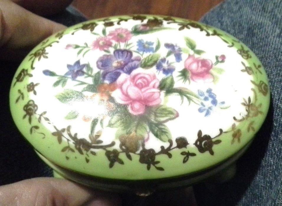 Porcelain Floral Lidded Metal Hardware Trinket Box Norleans Japan