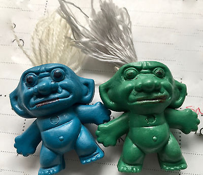 2 MINI TROLL DOLL FIGURES STRING HAIR BOOTLEG? MADE IN CHINA