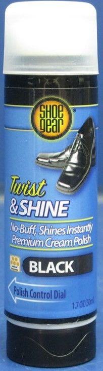 Lot of 6 Shoe Gear Twist & Shine BLACK No-Buff Premium Cream Polish (1.7 oz. ea)