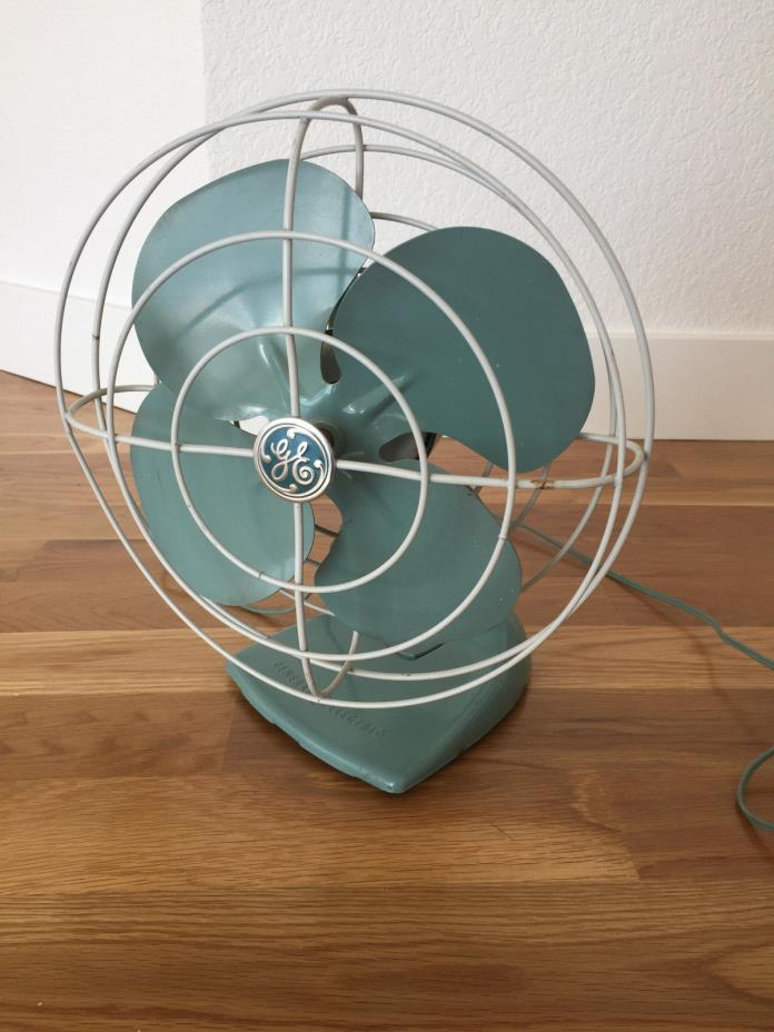 Vintage midcentury GE oscillating fan, blue, very good condition!