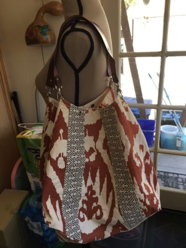 Rosanna Ikat Pumpkin  Bag NWT Large Orange & Grey