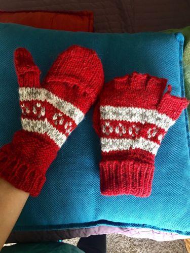Mount Everest Red Burgundy wool Convertible Mitten Fingerless gloves