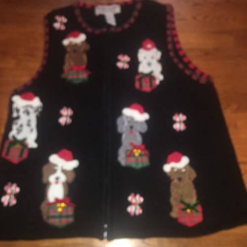 Ugly Christmas Sweater Cute  Dogs & Presents Heirloom Collectables Medium M Vest