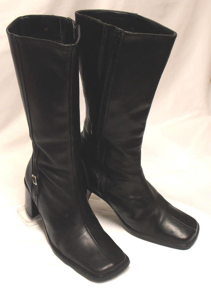 SAN MARINA Size 8.5-9 (39) Black Leather Med-Heel Side-Zip Mid-Calf Boots