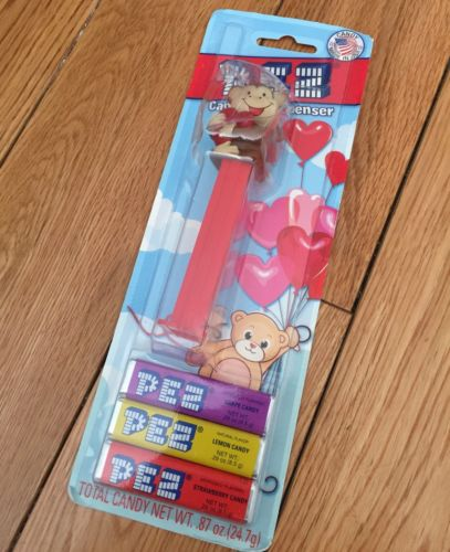Pez monkey with heart on Valentine card
