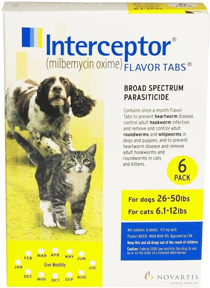 Interceptor Flavor Tablets 26-50 lbs (6 pack) NEW in box Free Shipping