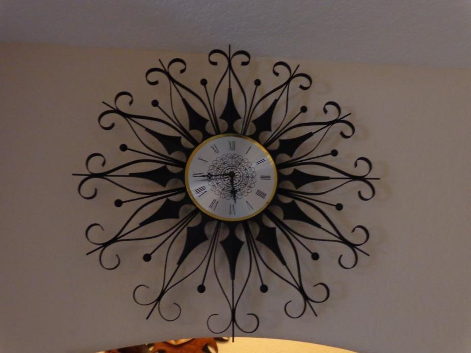 Mid Century Modern Wrought Iron Wall Clock
