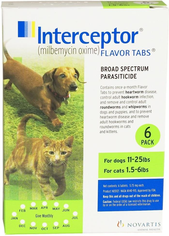 Interceptor Flavor Tablets 11-25 (6 pack) NEW IN BOX FREE shipping