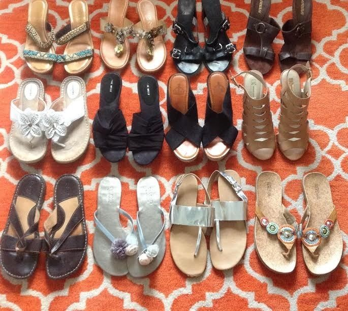 Lot of 21 pairs of Womens Designer Shoes,Flats, Flip Flops, Heels, Sneakers 10M