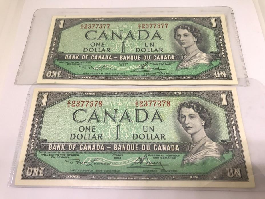 Two Consecutive Uncirculated 1954 One dollar bills