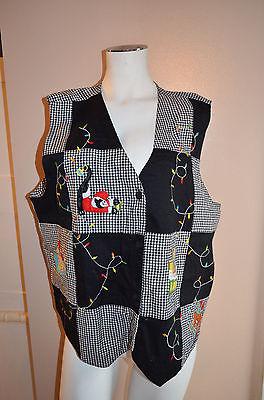 Christmas Vest Ugly Lemon-Grass Women's size 20w crazy cat lady check plaid