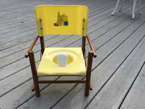 VINTAGE BABY FOLDING POTTY CHAIR, WITH plastic potty, Bunny decal