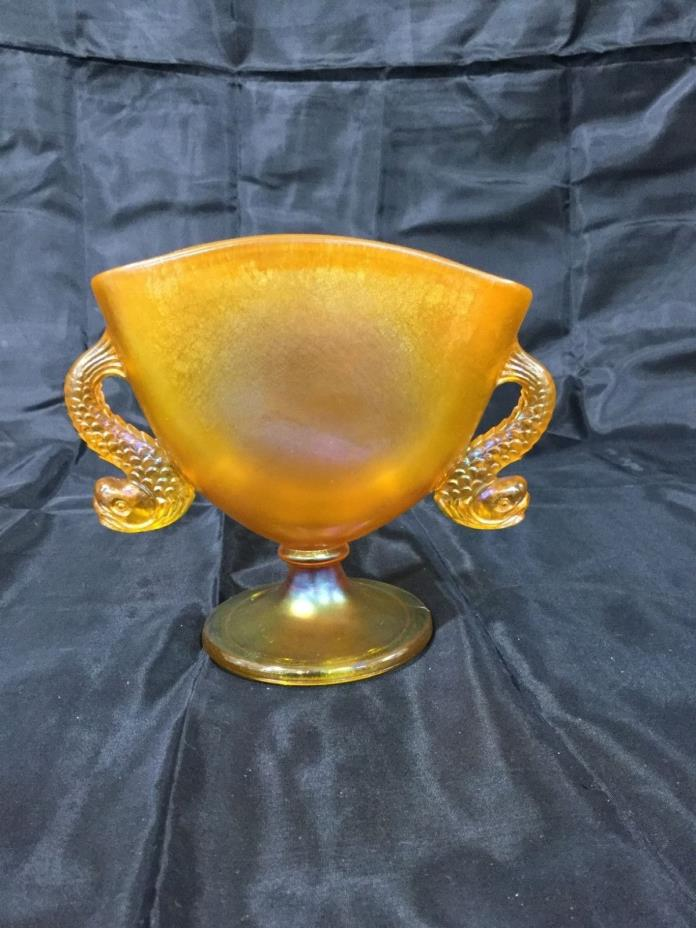 Fenton tangerine glass dolphin fan vase mint