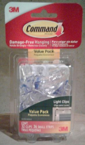 New-Command Outdoor Light Clips Value Pack, Clear, 32-Clips *Free Shipping *