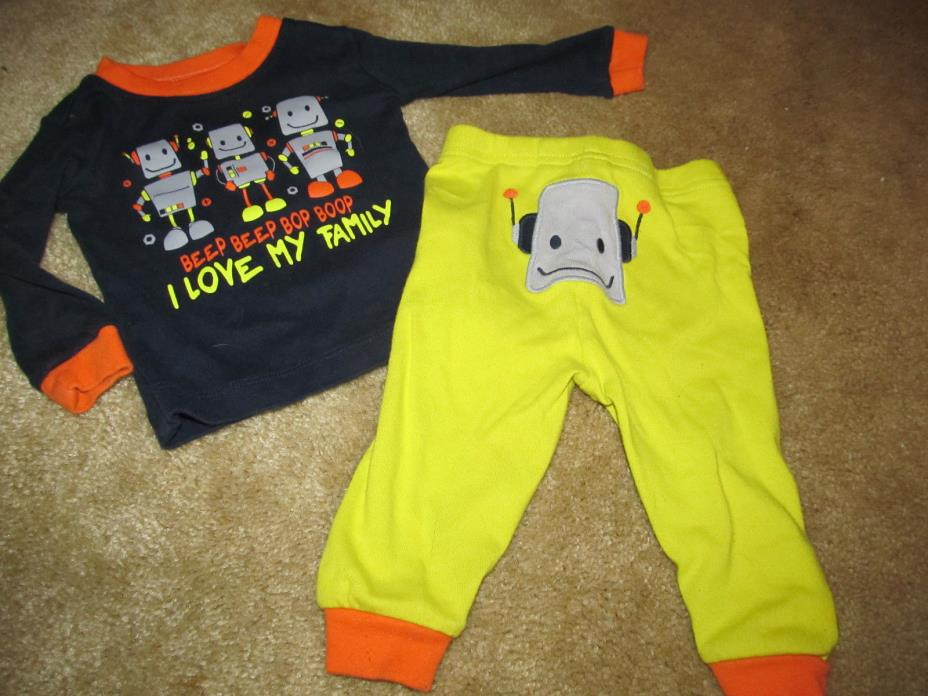 CHILDREN'S PLACE boys ROBOT PJS PAJAMAS 2pc TOP PANTS sz 6 9 months