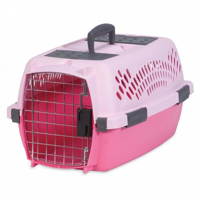 Petmate Plastic Pet Dog Cat Porter Crate Kennel 19 inch Taxi up to 10lbs, Pink