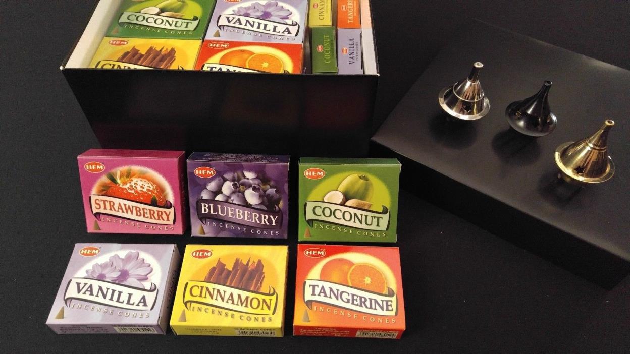 SWEET TREATS Incense Cones Set: 6 Scents x 7 Boxes Of 10 = 420 Cones + 3 Burners