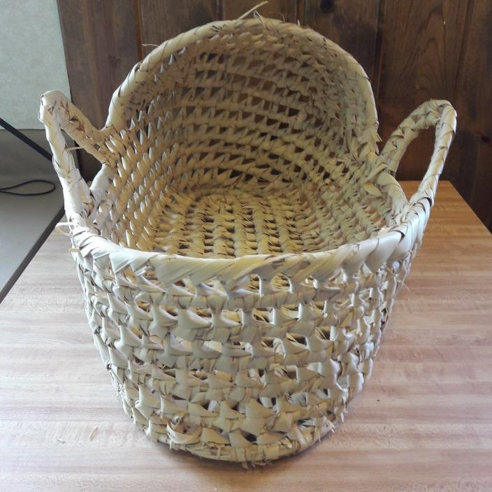 Vintage Indian Handmade Small Baby Basket From Estate Sale #1