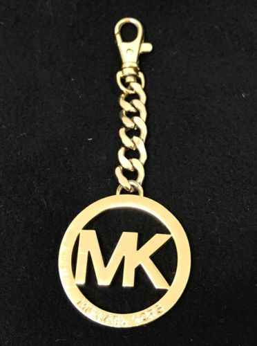 MICHAEL KORS Gold tone Round MK FOB Key Chain Purse Charm  AUTHENTIC!