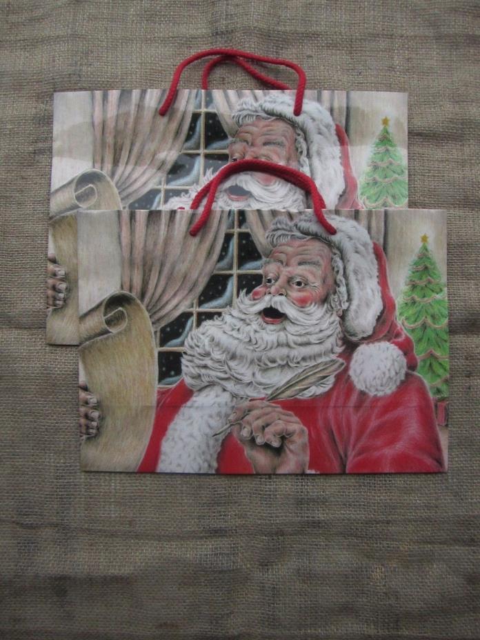 2 VINTAGE 1987 Jillson Roberts Christmas Large Gift Bags Santa Checking List