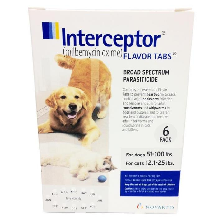 Interceptor Flavor Tablets 51-100 (6 pack) Free shipping New in Box