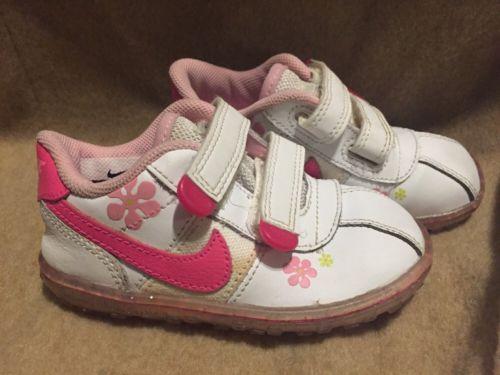 Nike Girls Toddler Sneakers Size 7 C Pink White Velcro Tennis Shoes Walking