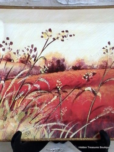 CNI Designs by Art in Motion Hand-Painted Art Square Plate Floral Field J Wiens