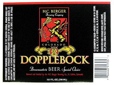 HC Berger Brewing DOPPLEBOCK beer label CO 500 ml