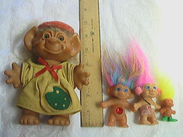 Vintage Troll Lot Uneeda Wishnik Artist Plus 3 Later Small Korea Trolls
