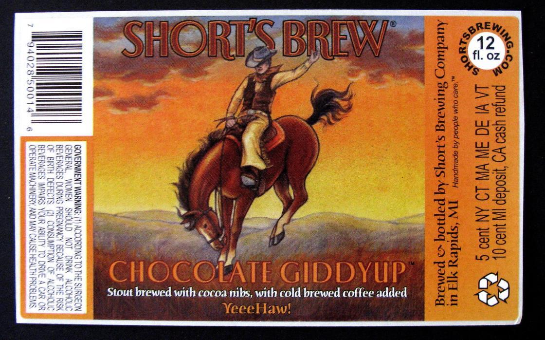 Short's Brew CHOCOLATE GIDDYUP beer label MI 12oz STICKER