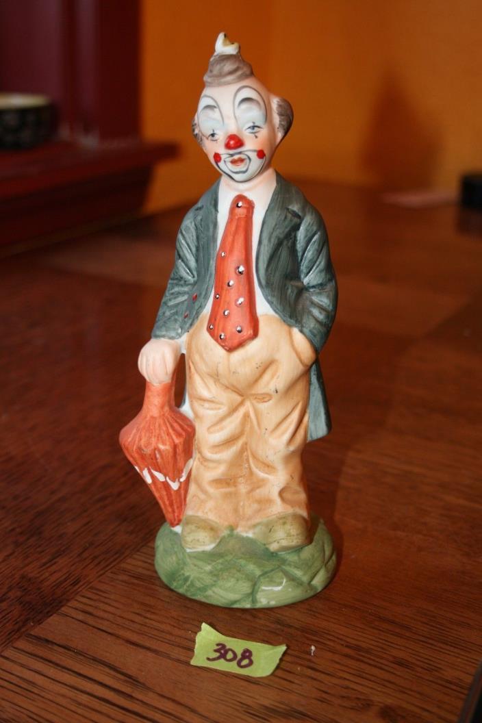 Ceramic Sad Clown Painted Statue With Umbrella