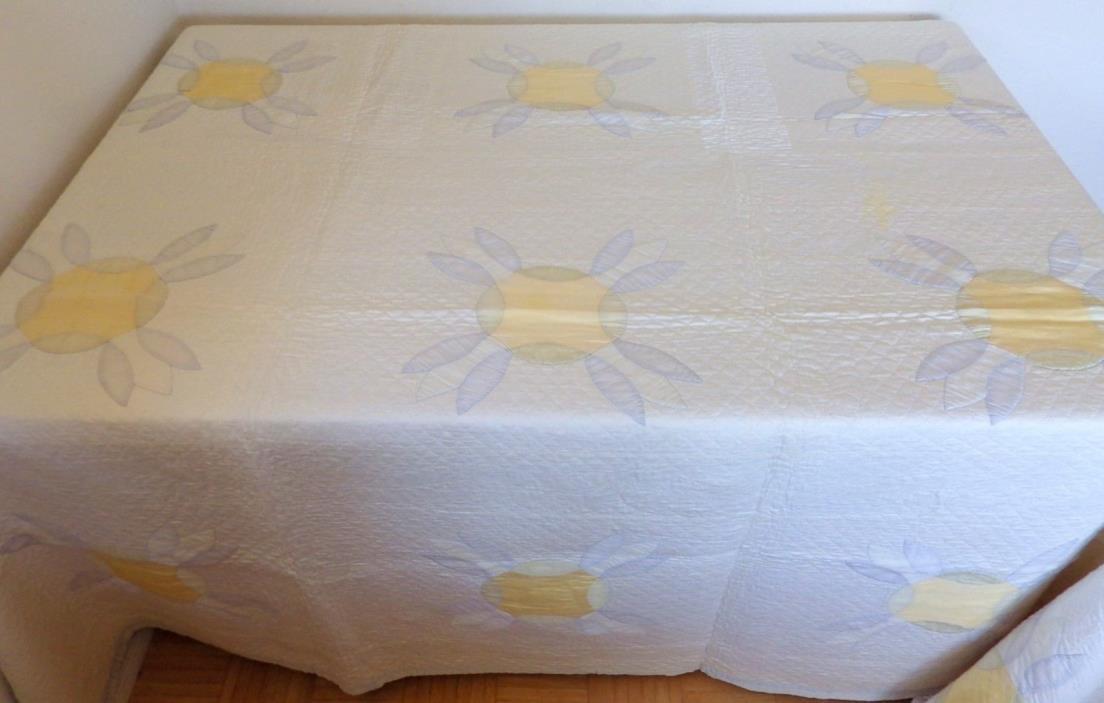 Vtg handmade airy yellow blue flower quilt king queen 92x66