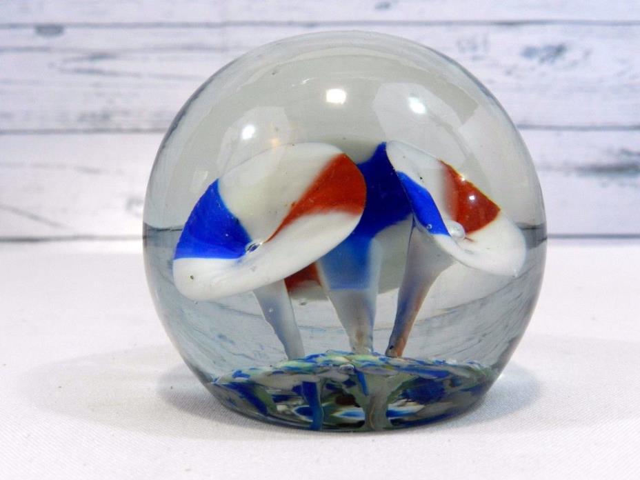 Vintage Round Mushroom Red White Blue Art Glass Paperweight