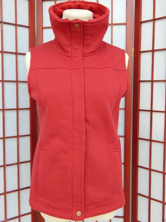 Red Fleece Vest Zip Up Pockets Furry Collar Women's Size Small Turtleneck Collar
