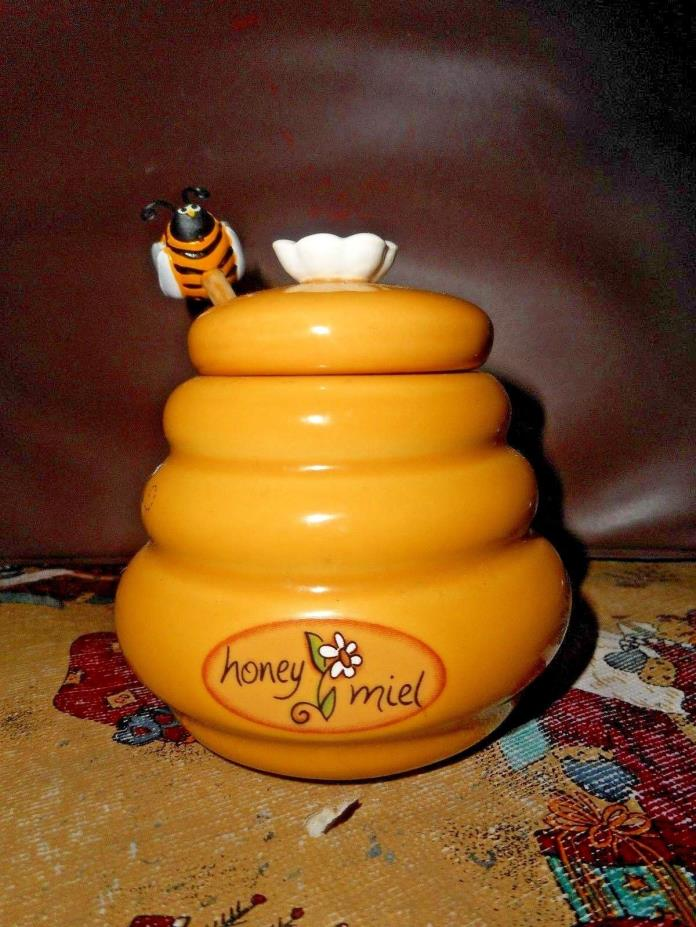 Honey Miel Beehive Honey Pot with Wooden Dipper