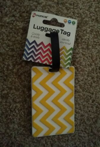 GForce Luggage Tag yellow and whit chevron pattern