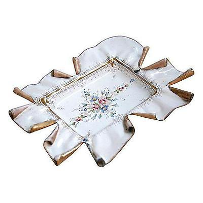 Elegant Vintage 1950s French Hand-Painted Catchall Tray