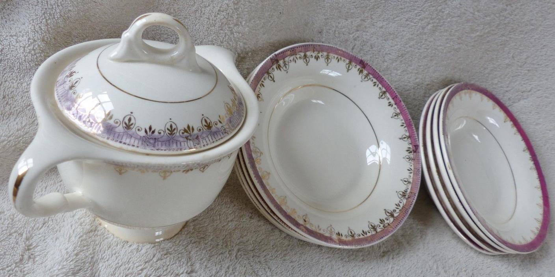 1940's Vintage American Limoges Sugar, lid, 8 Bowls ,22K gold,Buckingham pattern