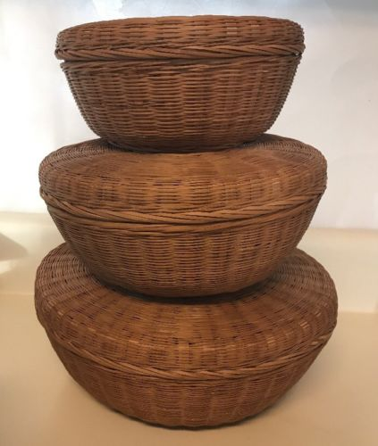 Wicker Baskets Sewing Nesting Vintage