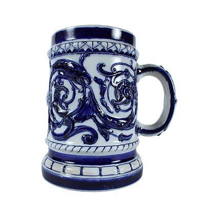 Lovable Swedish Blue & White Stoneware Stein