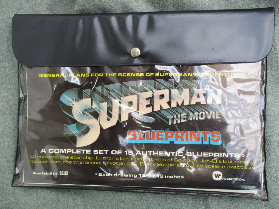 VINTAGE 1979 SUPERMAN THE MOVIE starring CHRISTOPHER REEVE BLUEPRINTS N.MINT