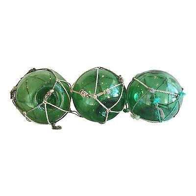 Striking Nautical Green Glass Fishing Floats - Set of 3