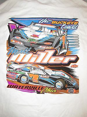 Matt Miller #7 Waterville Ohio Dirt Track Car Racing T Shirt Sz XL Buckeye