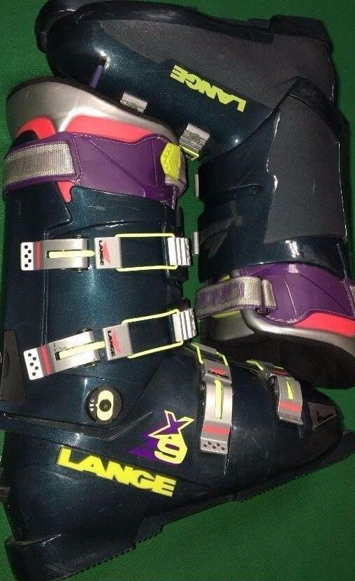 Lange X9 Metallic Green Downhill Ski Boots, Men Size 11 332 Womens sz 12 Racing