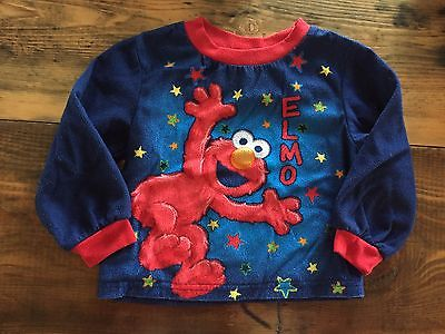 Sesame Street Elmo Fleece Sweater or PJ Top, Toddler Size 24M, Blue/Red